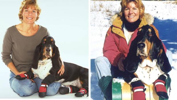Marianne Bertrand, founder of Muttluks Inc., and her dog, Trombone, wearing the company's dog boots. (COURTESY OF MARIANNE BERTRAND)