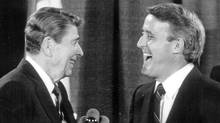 U.S. President Ronald Reagan and Prime Minister Brian Mulroney share a laugh at a G7 Summit in Toronto on June 21, 1988. (Erik Christensen/Erik Christensen/The Globe and Mail)