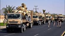 A Twitter image moved on the Saudi Arabia National Guard account on Nov. 16 shows light armoured vehicles arriving in Najran, near the Yemen border.