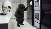 Corning launched its consumer campaign for Gorilla Glass in late 2010 with a trio of ads featuring a gorilla using high-tech products as part of his day: a cellphone, or a TV built into a fridge door. (Corning Inc./Corning Inc.)