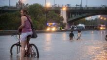 A flooded portion of the Don Valley Parkway at the Dundas Street on-ramp in Toronto, Ontario. (Philip Cheung for The Globe and Mail)