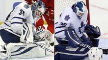 Toronto Maple Leafs goalies James Reimer, left, and Drew MacIntyre