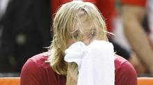 Canada's Denis Shapovalov reacts after the umpire was struck by a ball during his singles match against Britain's Kyle Edmund. (CHRIS WATTIE/REUTERS)