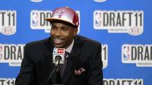 Texas' Tristan Thompson talks to reporters after being taken with the No. 4 pick by the Cleveland Cavaliers in the NBA basketball draft, Thursday, June 23, 2011, in Newark, N.J. (Julio Cortez/AP)