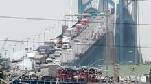 Traffic on the Canadian side of the Ambassador Bridge between Windsor, Ont., and Detroit. (Jason Kryk/JASON KRYK/THE CANADIAN PRESS)