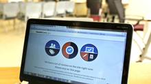 A busy screen is shown on the laptop of a Certified Application Counselor as he attempted to enroll an interested person for Affordable Care Act insurance, known as Obamacare, at the Borinquen Medical Center in Miami, Fla., Oct. 2, 2013. (JOE SKIPPER/REUTERS)