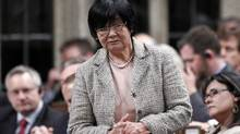 Former International Co-operation Minister Bev Oda speaks during Question Period in the House of Commons on Parliament Hill in Ottawa April 24, 2012. (CHRIS WATTIE/REUTERS)