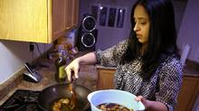 Michelle Ladha prepares a healthy Indian meal for her family at their Richmond Hill home, M<arch 6, 2012. Concerned for her family's health, she hired an Indian dietician to help them eat well and avoid puttign on weight. (J.P. Moczulski for The Globe and Mail/J.P. Moczulski for The Globe and Mail)