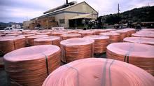 Spools of copper rods in Miami, Ariz.