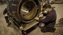 A worker at Elettra Technology Inc. (Moe Doiron/Moe Doiron/The Globe and Mail)