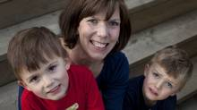 Catherine Hewlett and her twin boys Evan (left) and James. (Moe Doiron/The Globe and Mail/Moe Doiron/The Globe and Mail)