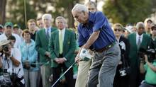 In this April 9, 2015, file photo, Arnold Palmer hits an honorary tee shot before the first round of the Masters golf tournament, in Augusta, Ga. (Matt Slocum/AP)