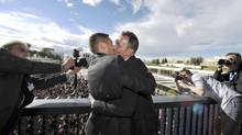 The city of Montpellier made accommodations for more than 100 journalists to attend the wedding of Bruno Boileau and Vincent Autin. (POOL/REUTERS)