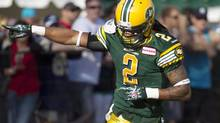 Edmonton Eskimos Fred Stamps #2 celebrates a touchdown against the Winnipeg Blue Bombers during first half action in Edmonton, Alta., on Saturday September 14, 2013. (JASON FRANSON/THE CANADIAN PRESS)