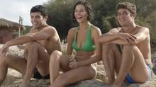 """Left to right: Marco (Carmine Recano), Tommaso Cantone (Riccardo Scamarcio) and Alba Brunetti (Nicole Grimaudo) in a scene from """"Loose Cannons."""" (Courtesy of Mongrel Media)"""