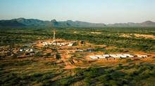 An oil rig used in drilling at the Ngamia-1 well in Kenya. The east Africa country announced on March 26, 2012, its first oil discovery, saying it was found in the northern part of the country where Africa-focused British firm Tullow Oil has been exploring for oil. (Tullow Oil/Tullow Oil)