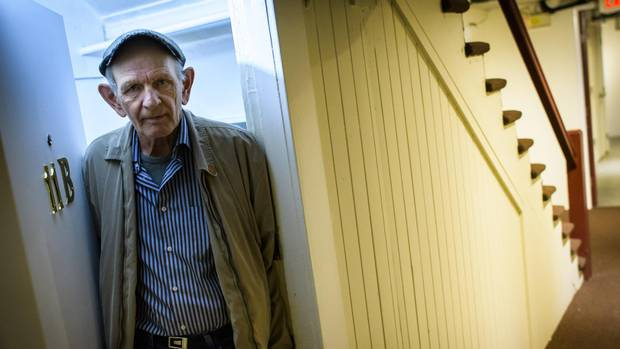 Mr. Sigurdson in his apartment. He has been on the waitlist for permanent BC Housing for seven years. (John Lehmann/The Globe and Mail)