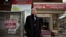 Jan Hykamp, one of the founding members of a board that opposes condo development on the Lick's site in the Beach is photographed at the Queen Street location (Moe Doiron/The Globe and Mail/Moe Doiron/The Globe and Mail)