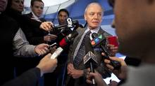 Deputy Mayor Doug Holyday talks to reporters after a vote to dissolve the TCHC board failed to materialize due to a lack of votes March 8, 2011. (Moe Doiron/The Globe and Mail)