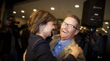 B.C. Premier Christy Clark is greeted by Environment Minister Terry Lake as she arrives for her first BC Liberal candidate caucus meeting in Vancouver, May 23, 2013. Mr. Lake is now the province's Minister of Health. (Rafal Gerszak For The Globe and Mail)