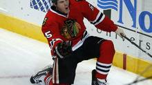 Chicago Blackhawks' Andrew Shaw celebrates his goal against the San Jose Sharks during the second period of their NHL hockey game in Chicago, Illinois, February 15, 2013. (JIM YOU