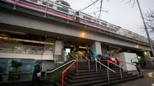 An eastbound SkyTrain stops at Main Street Station in Vancouver on Jan. 8, 2013. (Darryl Dyck for The Globe and Mail)