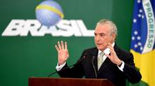 Brazilian President Michel Temer delivers a speech during in Brasilia on Feb. 14, 2017. (EVARISTO SA/AFP/Getty Images)