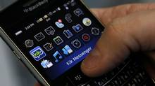 A BlackBerry photographed with the application Kik Messenger in Toronto. Mobile messaging apps like Kik are gaining popularity among young, tech savvy users. (Deborah Baic/The Globe and Mail)