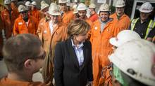 Premier Christy Clark speaks with employee's of Langley Concrete in Chilliwack April 17, 2013. (John Lehmann/The Globe and Mail) (John Lehmann/The Globe and Mail)