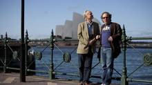 Richard Dawkins, left, and Lawrence Krauss in Sydney, Australia, in a scene from The Unbelievers. (A Black Chalk Production)