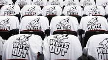 """White Out"" shirts adorn the inside of Jobing.com Arena before Game Three of the Western Conference Quarterfinals between the Detroit Red Wings and the Phoenix Coyotes during the 2011 NHL Stanley Cup Playoffs on April 18, 2011 in Glendale, Arizona. (Photo by Christian Petersen/Getty Images) (Christian Petersen//AP)"