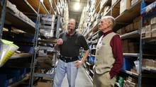 Founder Leonard Lee (right) chats with Lee Valley Tool employee Ted Goddard on the warehouse floor of the maker of woodworking tools. (Dave Chan For The Globe and Mail)
