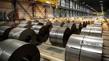 Steel waits to be processed on the Continuous Annealing Line (CAL) at the PRO-TEC Coating Co. facility in Leipsic, Ohio, U.S., on Monday, May 13, 2013. (Jeff Kowalsky/Bloomberg)