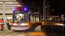 One of the TTC's new Bombardier streetcars gets a late-night test March 13, 2013. (Toronto Transit Commission)