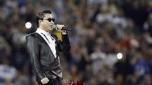 South Korean singer Psy performs during the half-time show at the NFL football game between the Buffalo Bills and the Seattle Seahawks in Toronto, December 16, 2012. (MARK BLINCH/REUTERS)