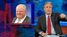 Jon Stewart made light of the Rob Ford crack revelations on The Daily Show on Nov. 4, 2013. (THE DAILY SHOW/THE CANADIAN PRESS)