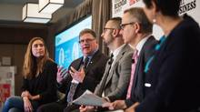 Sarah Prevette, Jonathon Dent, Andrew Zakharia and Dan Kelly participate in a panel discussion while Rita Trichur moderates at the Globe and Mail Small Business Summit in Toronto on May 9, 2017. JENNIFER ROBERTS/THE GLOBE AND MAIL (JENNIFER ROBERTS For The Globe and Mail)