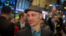 Shopify Inc. chief executive Tobi Lutke is shown on the floor of the New York Stock Exchange on his company's first day of trading. (Reuters/Lucas Jackson)