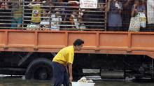 A man pushes puppies in a plastic container as residents are evacuated in a truck from a flooded area in Bangkok's suburbs on Oct. 20, 2011. (Kerek Wongsa/Reuters)