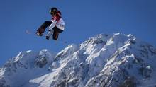 Sebastien Toutant is seen during his first run on the snowboard slopestyle course at the Sochi Winter Games, Thursday Feb. 6. (John Lehmann/The Globe and Mail)