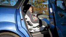 Olivia Lehmann, 3, sits in the back of her mom's car. (JOHN LEHMANN/John Lehmann/The Globe and Mail)