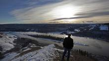 The area of the Peace River where the proposed Site C hydroelectric dam project could be built near Fort St. John, B.C., on Jan. 17, 2013. (Deborah Baic/The Globe and Mail)