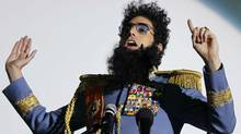 British actor Sacha Baron Cohen speaks to the audience before a preview of his latest movie, The Dictator, in Cologne, Germany, on May 14, 2012. (Reuters)