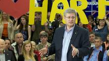 Conservative Leader Stephen Harper speaks to supporters during a campaign stop in Campbell River, B.C. on Saturday April 23, 2011. (Adrian Wyld/ The Globe and Mail/Adrian Wyld/ The Globe and Mail)