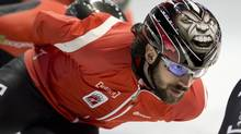 Charles Hamelin and Canada's speed skating team won gold in the 5,000-metre relay in six minutes 54.582 seconds a World Cup short-track even in Seoul, South Korea on Sunday. (File Photo) (PAUL CHIASSON/THE CANADIAN PRESS)