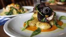 The grilled octopus with fingerling potatoes and a roasted pepper tuffo sauce at Enoteca Sociale (Deborah Baic/Deborah Baic/The Globe and Mail)