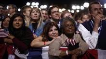 U.S. President Barack Obama's supporters listen to his acceptance speech after winning the U.S. presidential election, in Chicago, Illinois, November 7, 2012. (Jason Reed/Reuters)