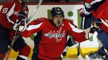 Alex Ovechkin of the Washington Capitals celebrates his goal against the Winnipeg Jets during their NHL game in Washington April 23, 2013. (KEVIN LAMARQUE/REUTERS)