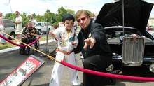 Elvis Presley memorabilia collector Branko Kavcic, right, with an Elvis impersonator and his Stutz Blackhawk in the background (COURTESY OF BRANKO KAVCIC)