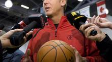 Toronto Raptors general manager Bryan Colangelo speaks to reporters during the Raptors' first day of training camp in Ottawa, Ont., Tuesday, September 29, 2009.THE CANADIAN PRESS/Sean Kilpatrick (Sean Kilpatrick)